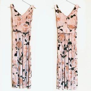 CALVIN KLEIN Scuba Floral Pink Maxi Dress